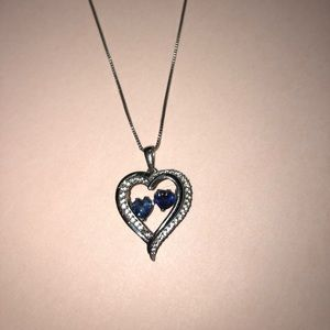 Sapphire heart pendant necklace